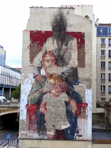 "Jérôme Thomas / Borondo paints ""Les Trois Ages"", a new mural in Paris, France"