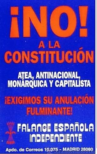 Cartel oponiéndose a la Constitución