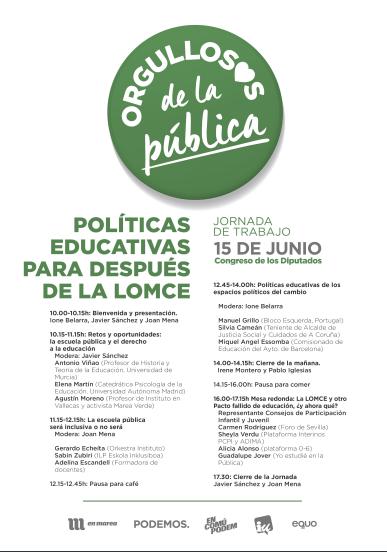 Unidos Podemos organiza en el Congreso la jornada 'Políticas Educativas para después de la LOMCE'