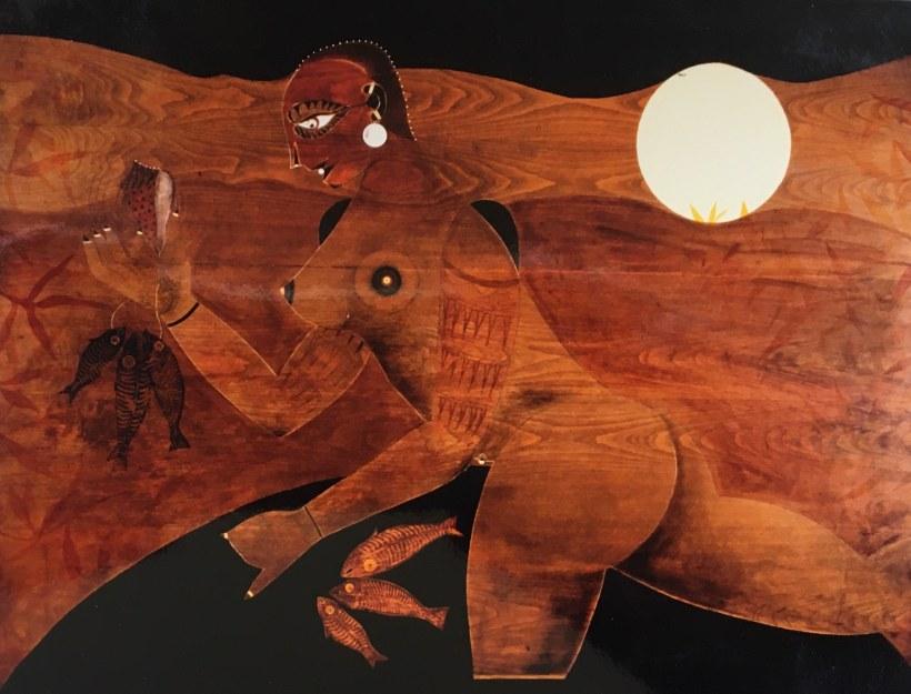 """""""Shambala y los peces"""" (1995) Pintura//madera"""